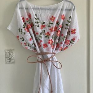 3 for $15 White Linen Shirt with Floral Embroidery